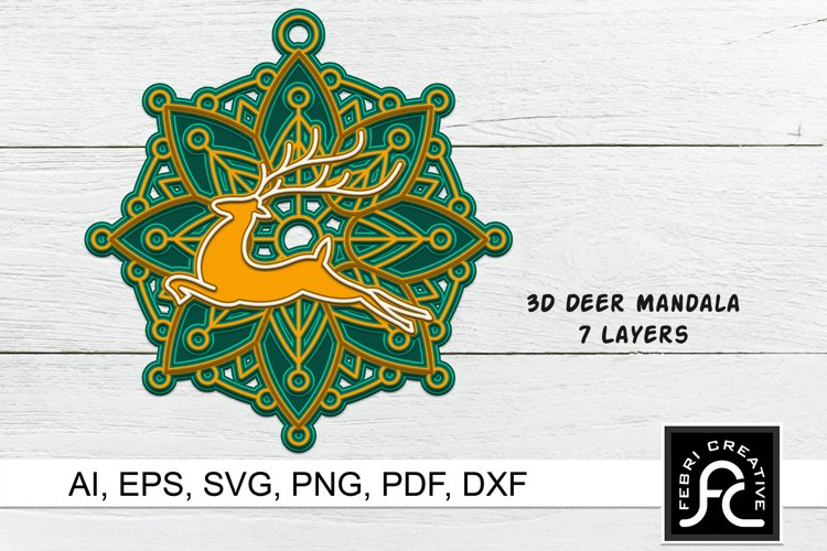 3D Layered Christmas Ornaments SVG | Laser Cut Design example image 1