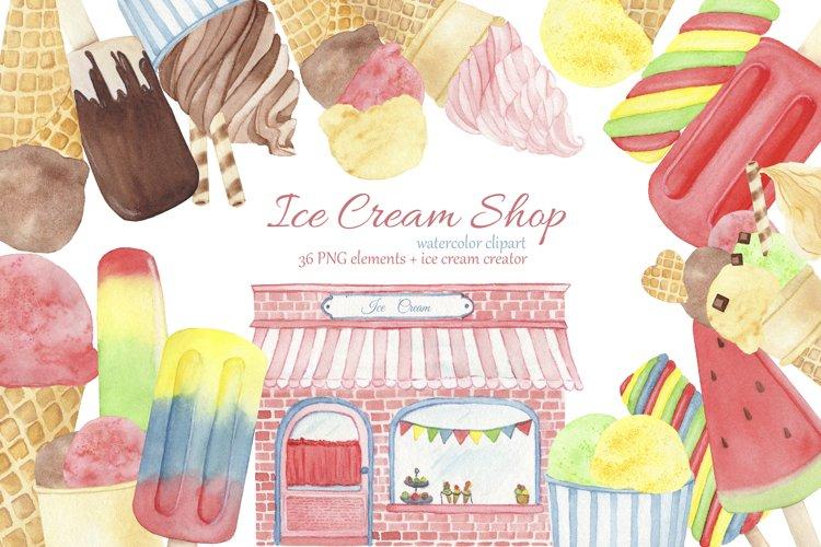 Ice Cream Popsicle Clipart. Watercolor Ice Cream Shop. example