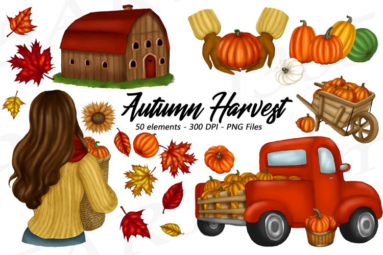 Autumn Harvest Planner Clipart Fashion Illustrations PNG
