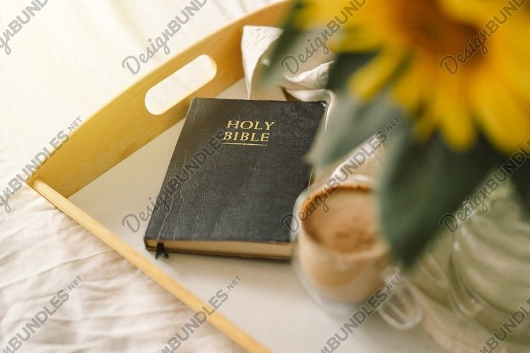 Sunflowers, Coffee and bible. Read, Rest. Concept for faith example image 1