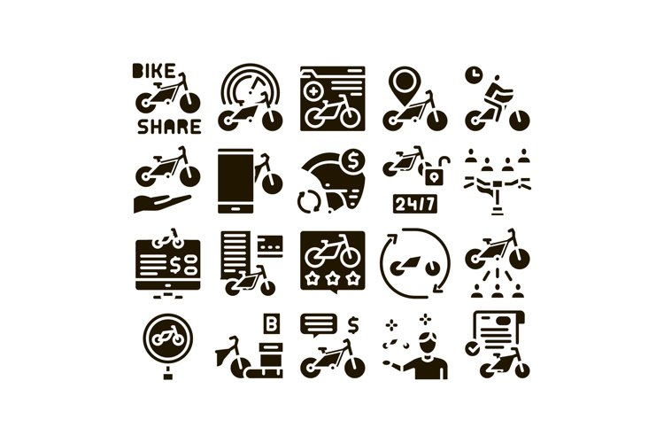 Bike Sharing Business Glyph Set Vector example image 1