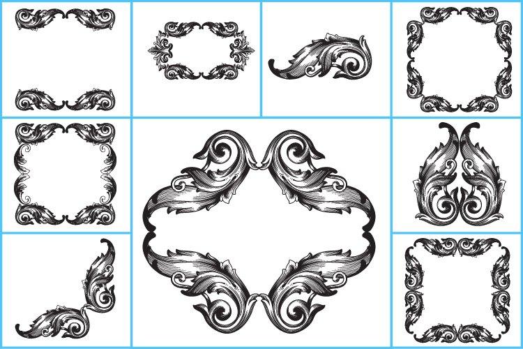 Ornament svg, Ornament clipart, flower svg frame monogram.