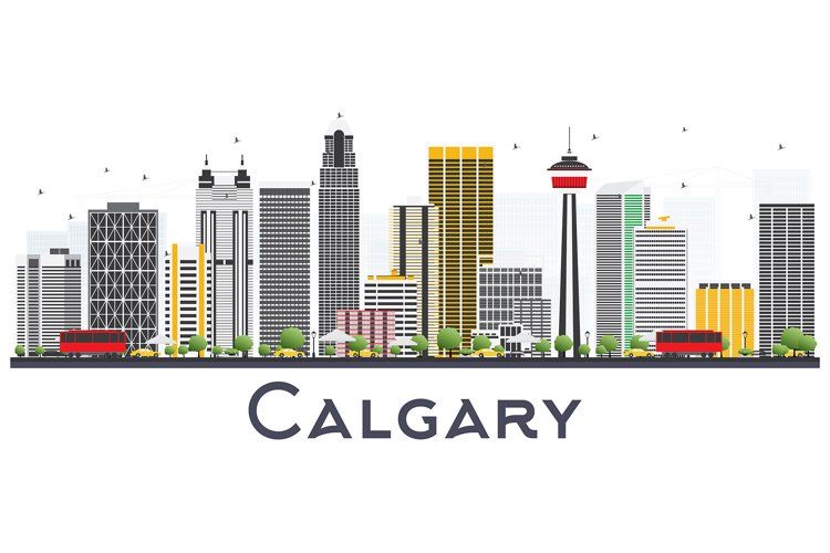 Calgary Canada City Skyline with Gray Buildings example image 1