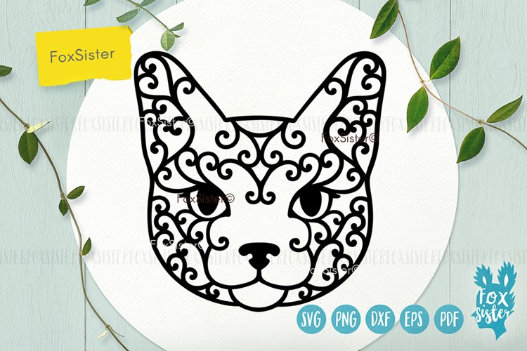 Cat face Svg, Dxf, Eps, Png, Pdf cut file example image 1