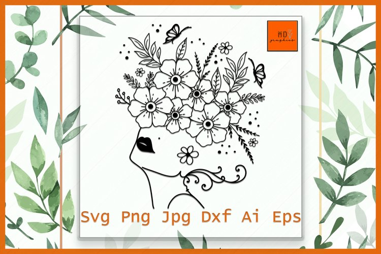 Girl with Flowers SVG, Floral girl svg, Girl with flowers example image 1