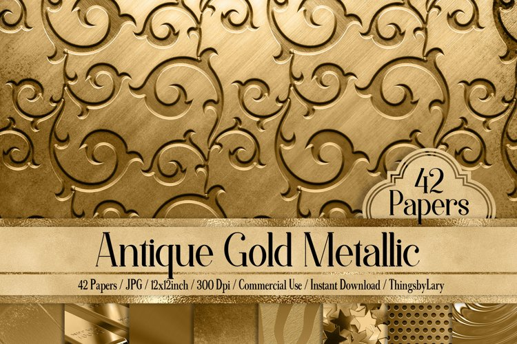 42 Antique Gold Metallic Texture Papers example image 1