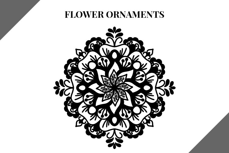 Flower Ornaments svg file, svg bundle, mandala flowers example image 1