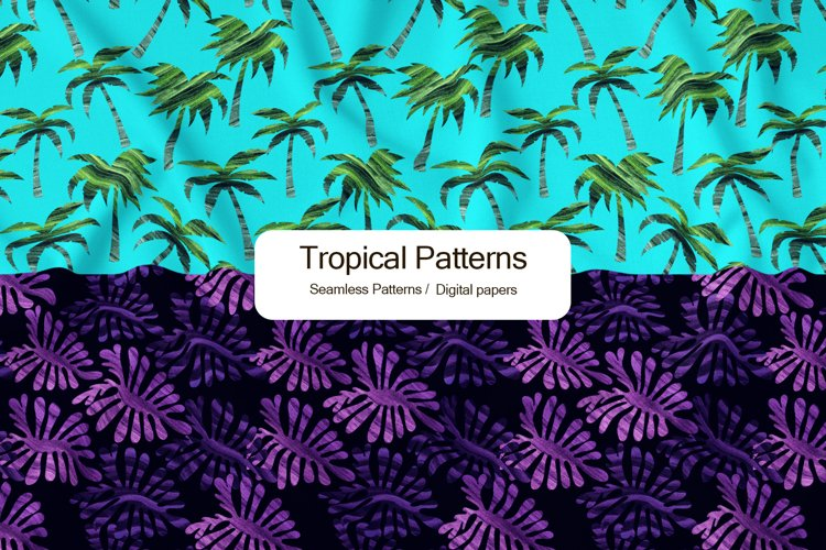 Hand watercolor drawn tropical seamless pattern, 12x12