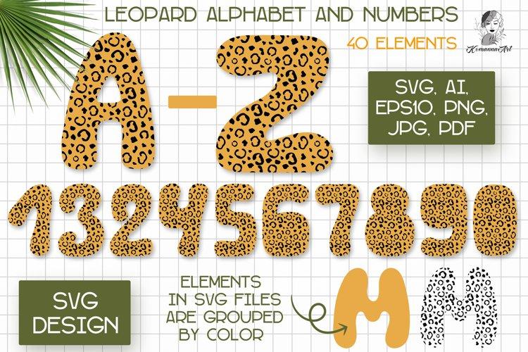 Leopard alphabet Svg, cheetah print svg, Leopard numbers Svg