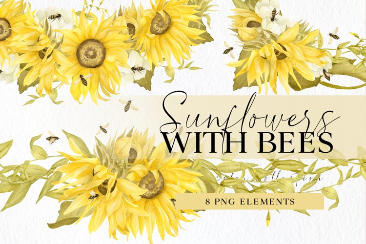 Sunflowers and bees clipart set