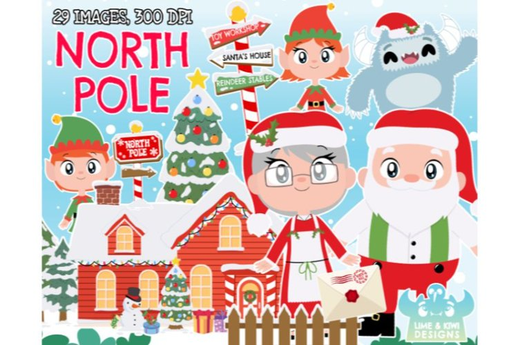 North Pole Clipart - Lime and Kiwi Designs