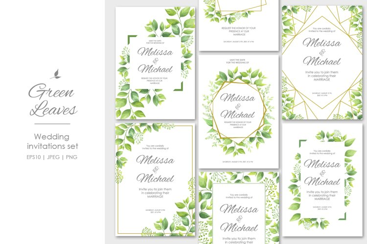 Green leaves wedding invitations set example image 1