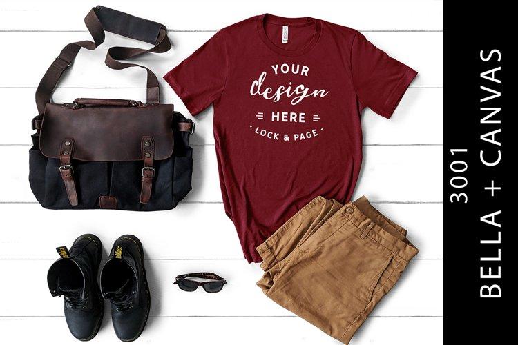 Men's Cardinal Bella Canvas 3001 Mockup T-Shirt example image 1