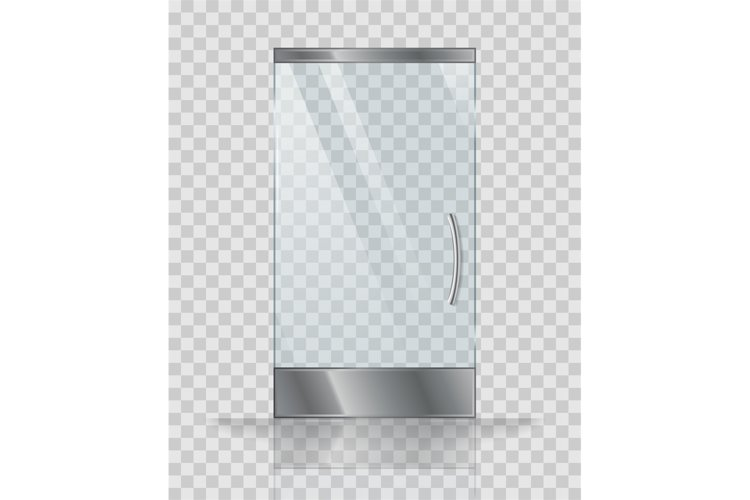 Glass door of modern building or shop. Vector illustration example image 1