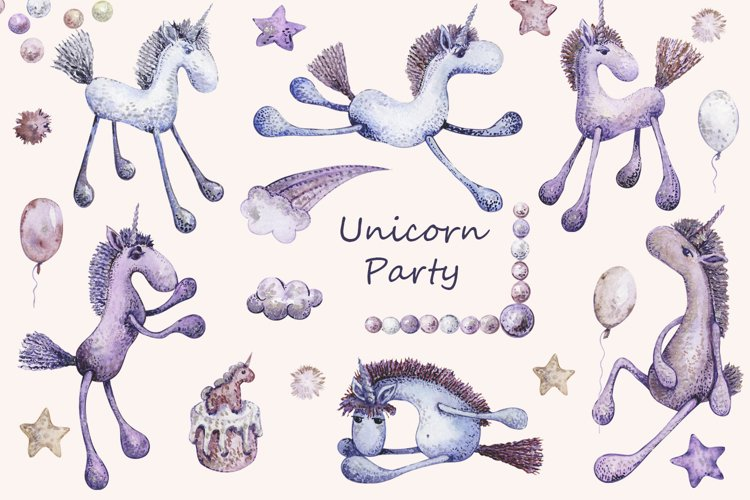 Watercolor Unicorn Birtday party clipartset png, Cute, Baby example image 1