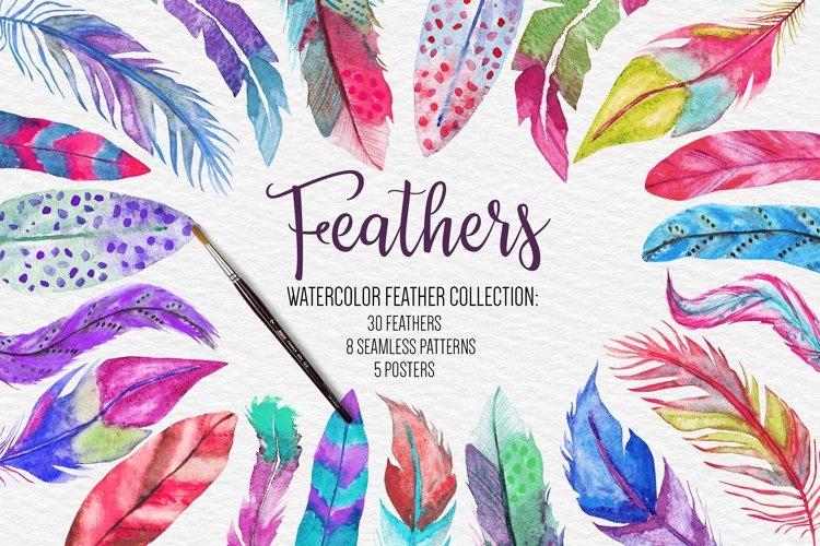 Watercolor Feathers Clipart, Sublimation Designs