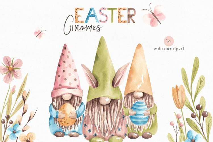 Watercolor Easter Gnomes