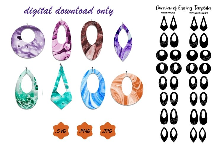 Earrings SVG Cut File, Leather Earring Template example image 1