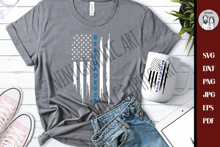 Police dad, Thin blue line Best dad ever USA flag svg, example image 1