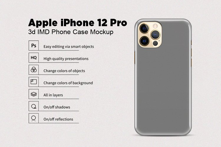 Apple iPhone 12 Pro 3d Phone Case Mockup Back View example image 1