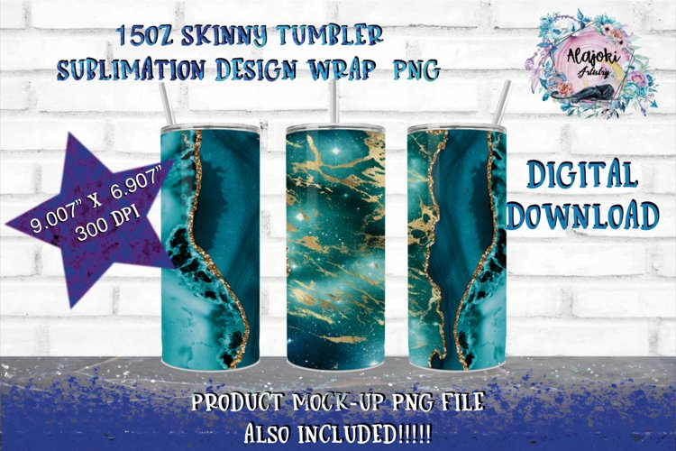 15oz|Sublimation| Teal Agate Marble| Skinny tumbler Design example image 1