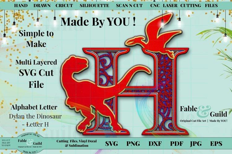 Dinosaur 3D Layered Cake Topper Alphabet Letter H SVG T-Rex