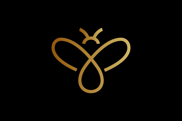Honey bee minimalist logo template gold color - Eps 10 example image 1
