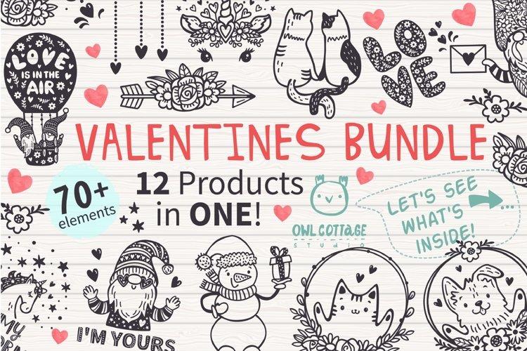 VALENTINES day svg BUNDLE , Valentine Clipart, Valentine's D example image 1