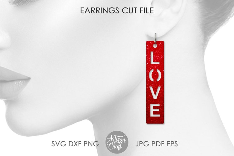 Love script earrings, SVG cut files example 1