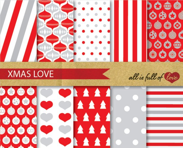 Xmas Digital Paper Pack Christmas Background Patterns in red and grey wrapping paper and party decor example image 1