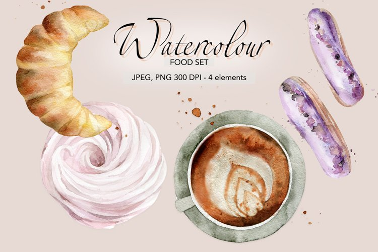 Coffee watercolor Marshmallow Foodie Pastry Sweet dessert