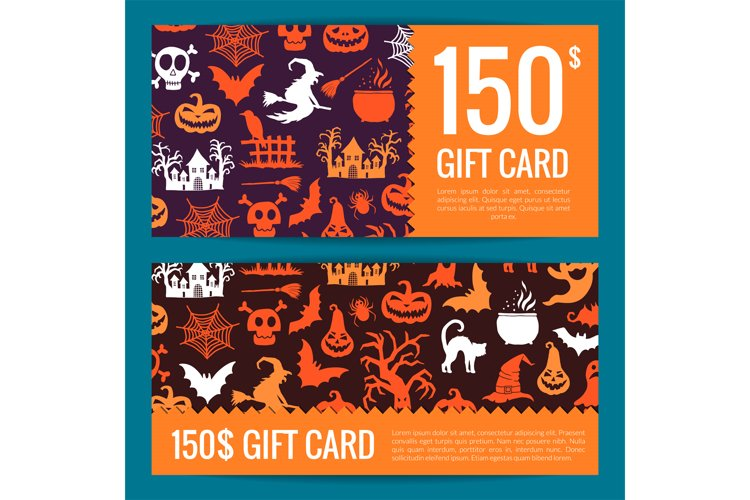 Vector halloween gift card or voucher templates example image 1