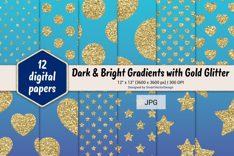 Polka Dot, Hearts, & Stars - Gradients with Gold Glitter #25 example image 1