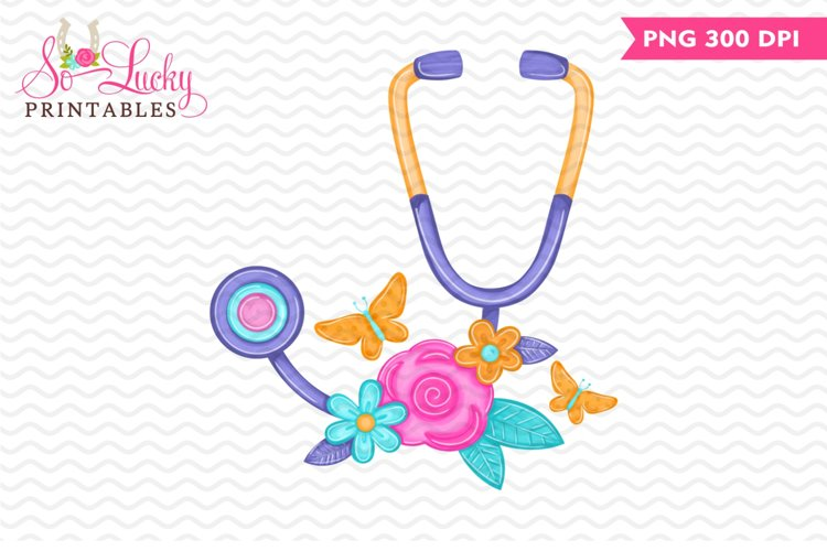 Stethoscope with Flowers printable sublimation design example image 1