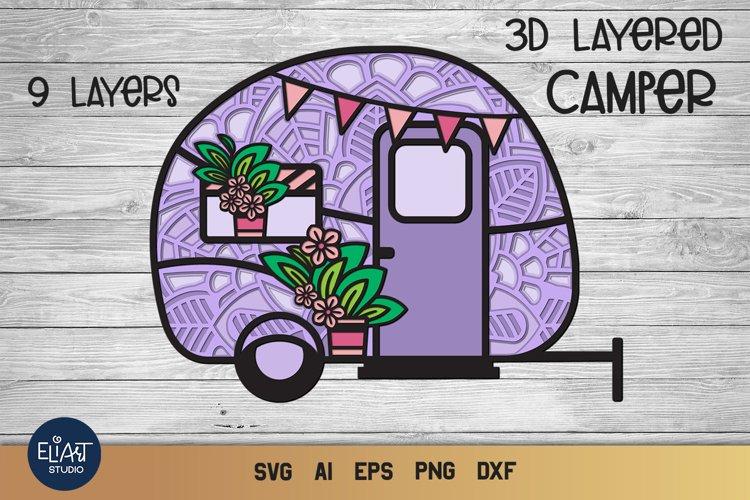 Camping SVG | 3D Layered SVG Camper | Camp Life SVG