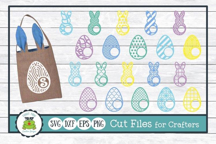 Easter Bunny and Egg Monogram Frame Bundle, SVG Cut Files