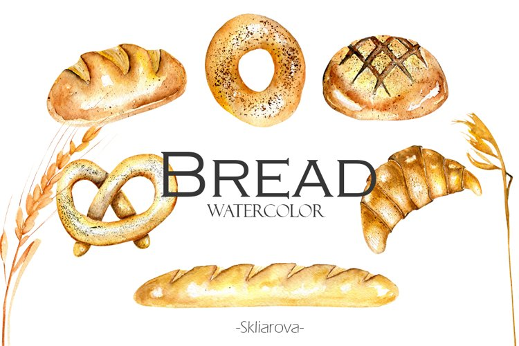 Watercolor BREAD clipart example image 1