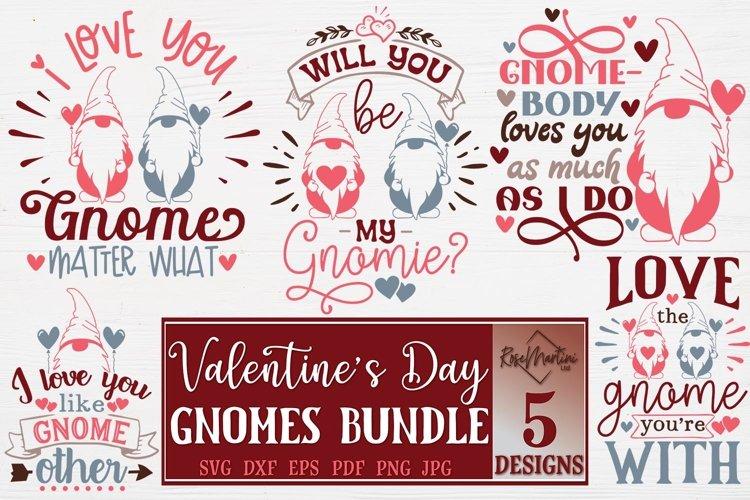 Valentine's Day Gnomes Bundle Gnomes SVG Bundle Of 5 Designs example image 1