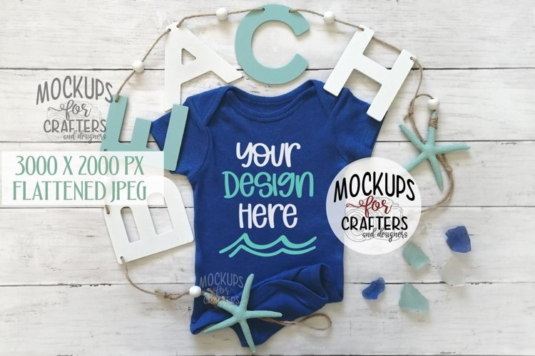 Baby outfit mock-up, beach, nautical, ocean example image 1