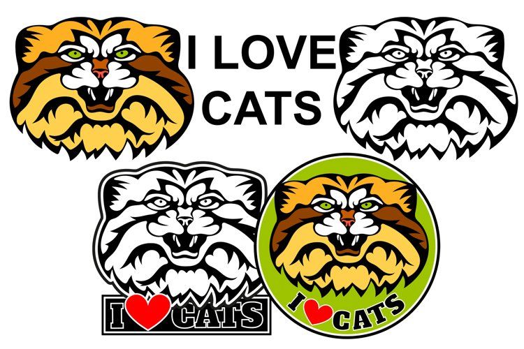 I Love cats logo. Cat manul head, vector illustration example image 1