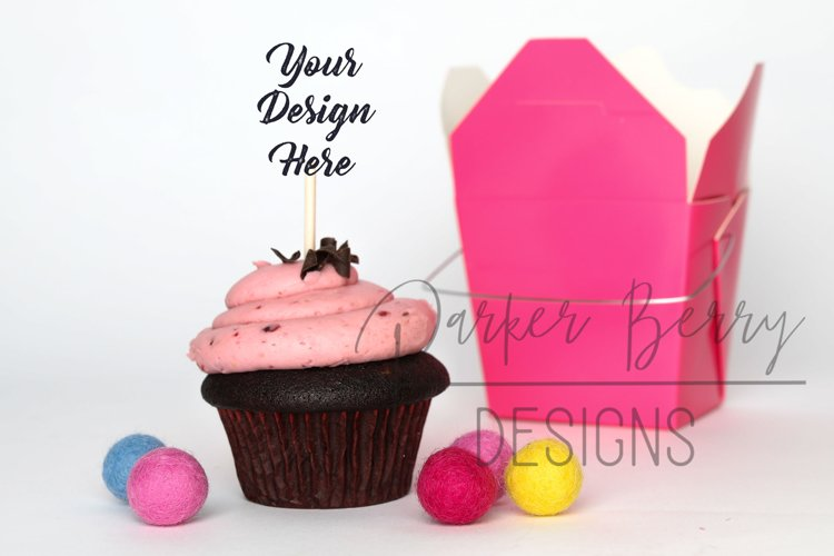 Berry Chocolate Cupcake Topper Pink Take out Box Mock up example image 1