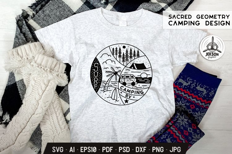 Sacred Geometry SVG Summer Camp Design with Beach Scene Tent example image 1