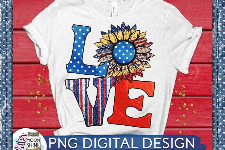 Love Patriotic Sunflower PNG Sublimation Design