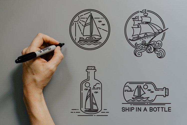 sailboat and ship vector design example image 1