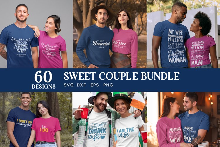 Sweet couple svg bundle - couple matching shirts svg dxf eps example image 1