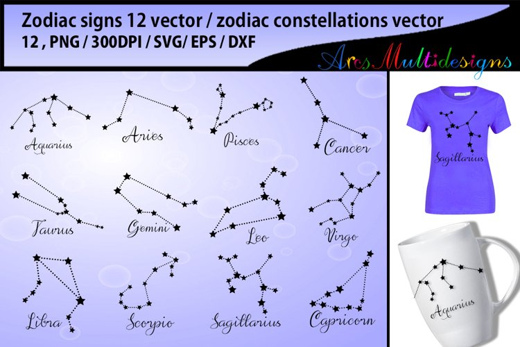zodiac vector silhouette / zodiac constellations svg vector example image 1