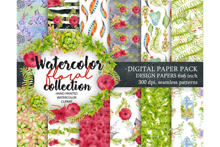Watercolor Digital paper with floral, cactus and succulents Patterns
