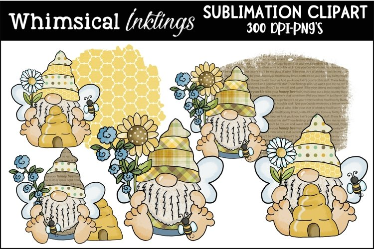 Big Feet Bumble Bee Gnomes Sublimation Clipart