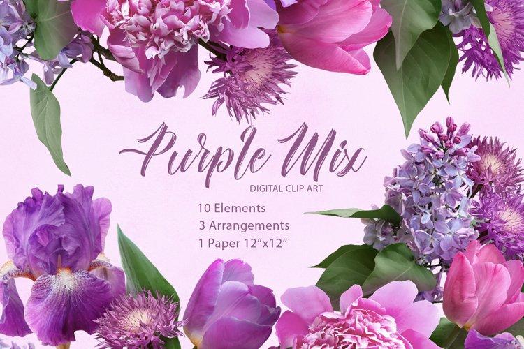 Purple mix flowers clipart. Floral arrangements. example image 1