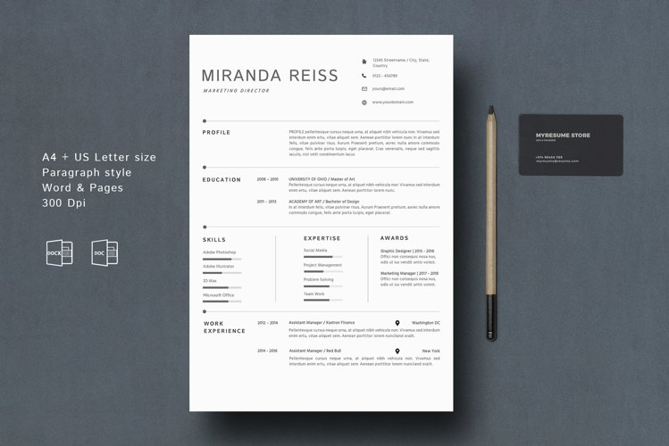 Modern Resume Template Google Docs MAC Pages example image 1